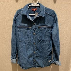 NWT 7 For All Mankind Girl Button Down Denim Shirt